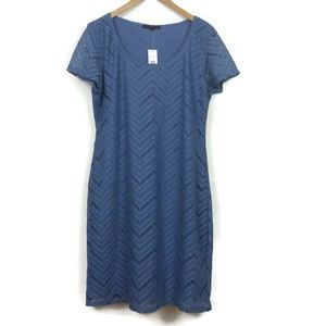Tiana B Dress Denim Blue Fitted Lace Overlay Large